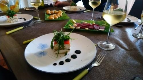 Millefeuille de chèvre frais aux légumes confits